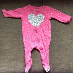 Carter's Pink Zip Up Pajama 3M